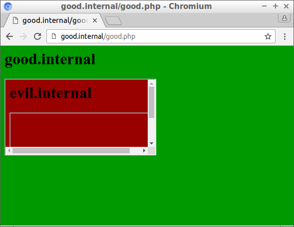 Good.internal is not loaded in the iframe