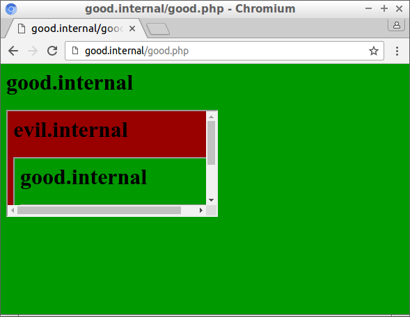 Good.internal includes an iframe with evil.internal with an iframe with good.internal