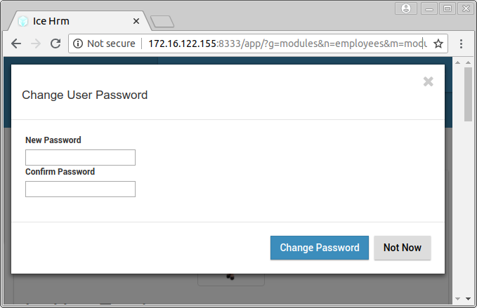 IceHRM dialog that asks twice for the new password