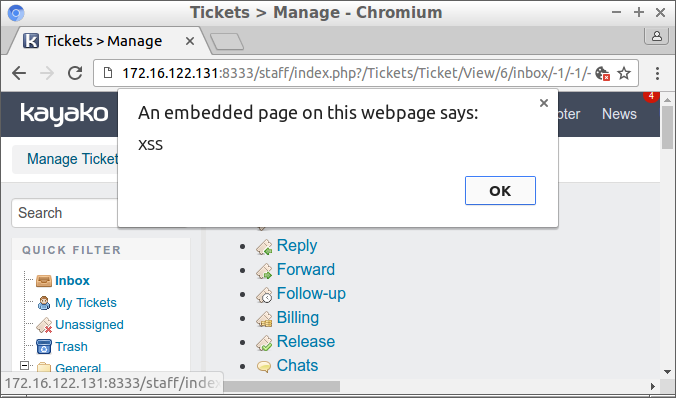 "Popup dialog showing ""XSS"""
