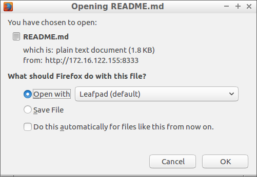 Download dialog for README.md