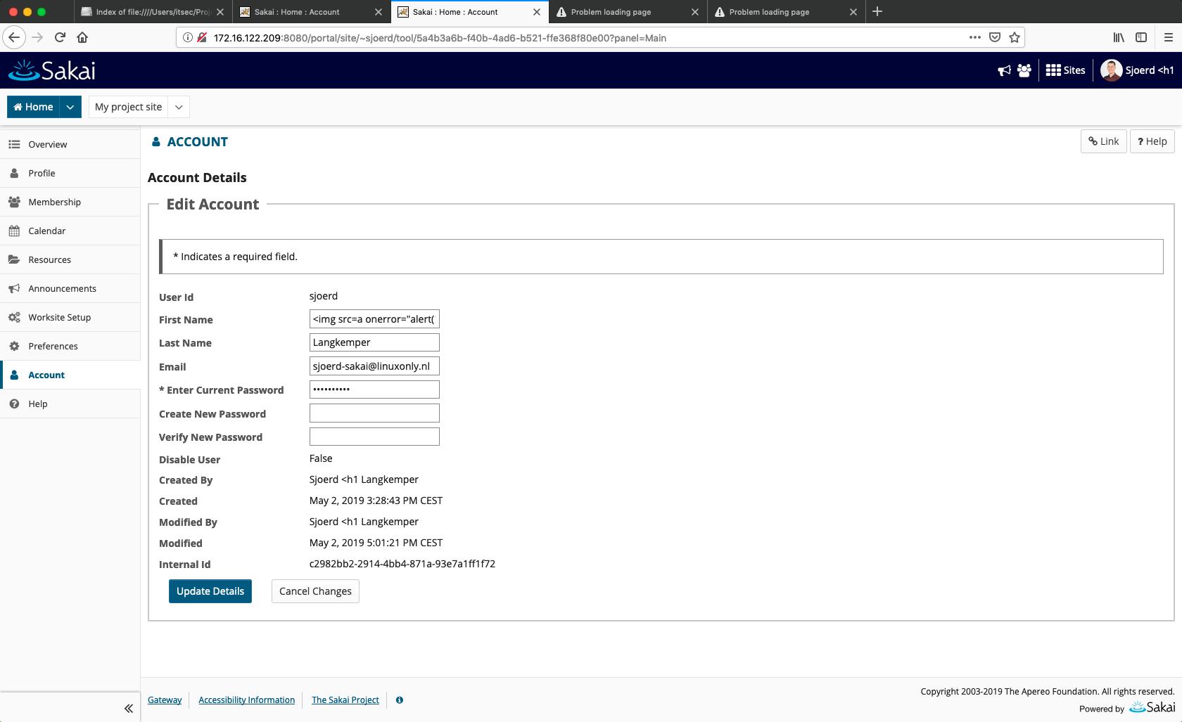 XSS in username in Sakai